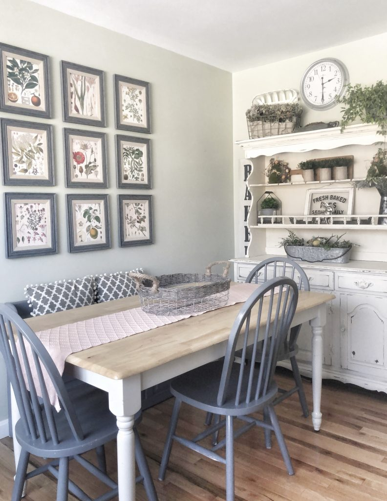 Botanical Print Gallery Wall in a Farmhouse/Cottage Kitchen