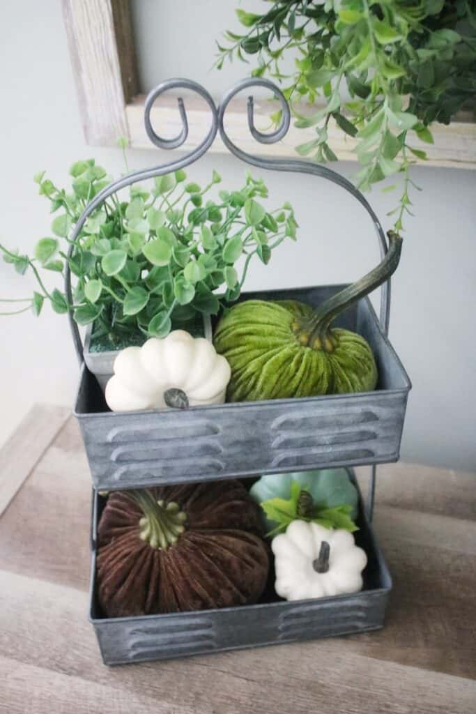PUMPKINS IN TIERED TRAY