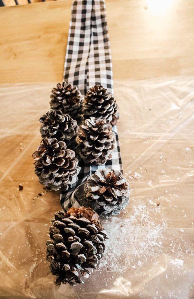 pine cone door swag