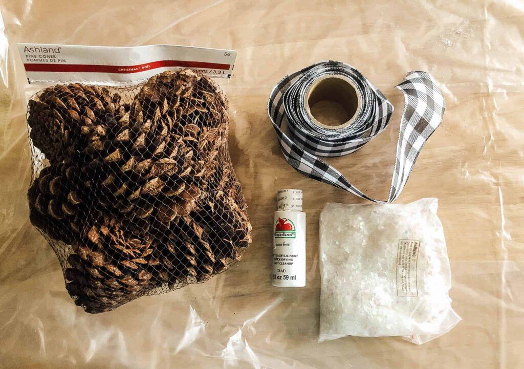 DIY pine cone door swag supplies