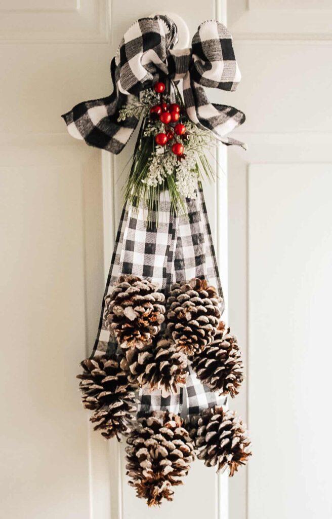 DIY Pine Cone Door Swag