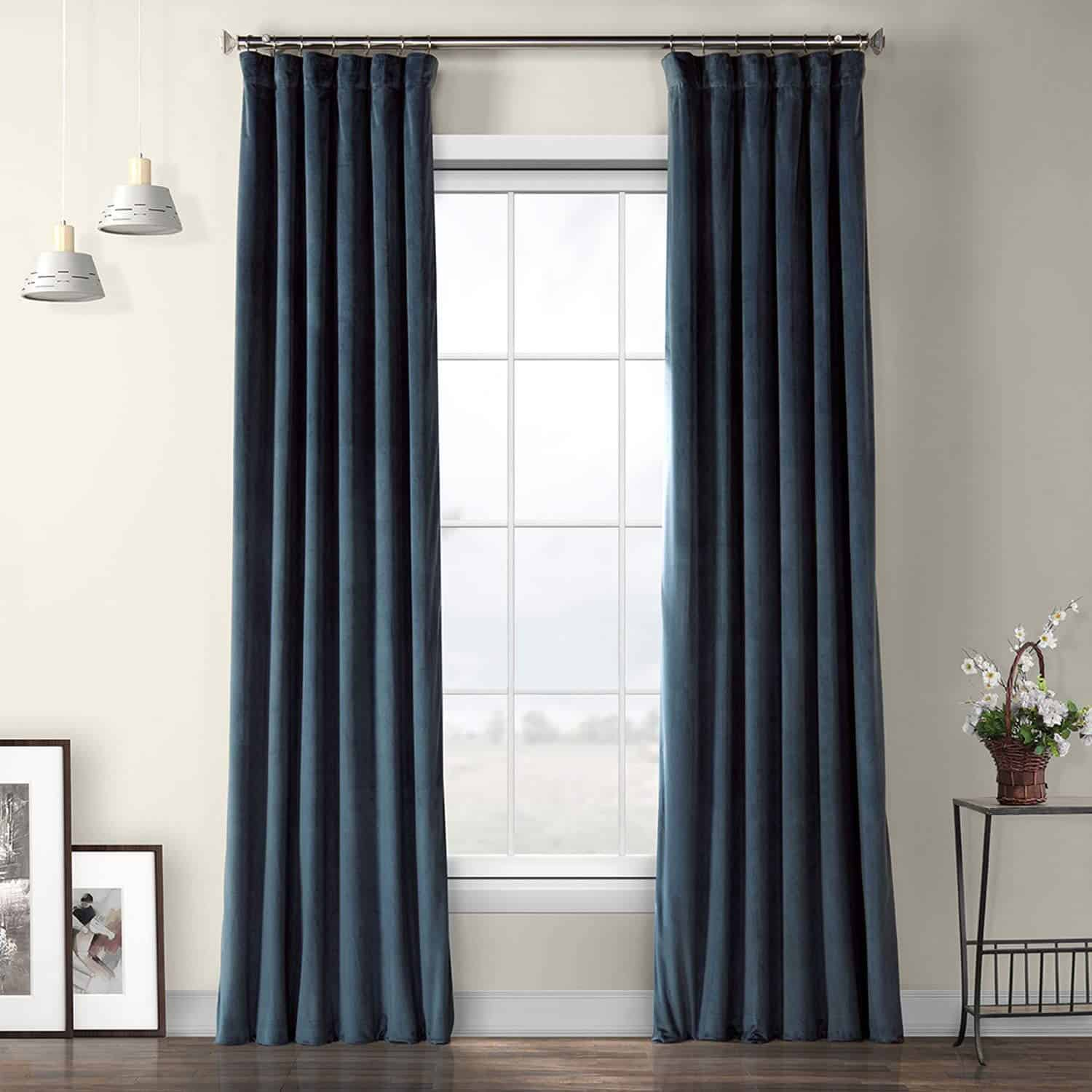 Avalon Blue Velvet Curtain