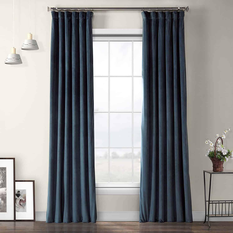 Avalon Blue Velvet Curtain