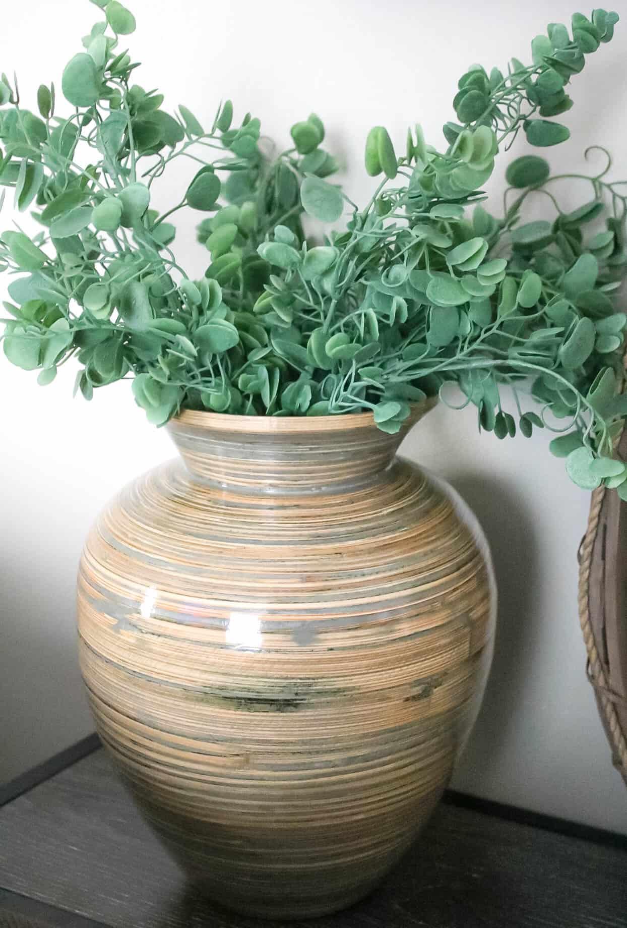 green stems in vase