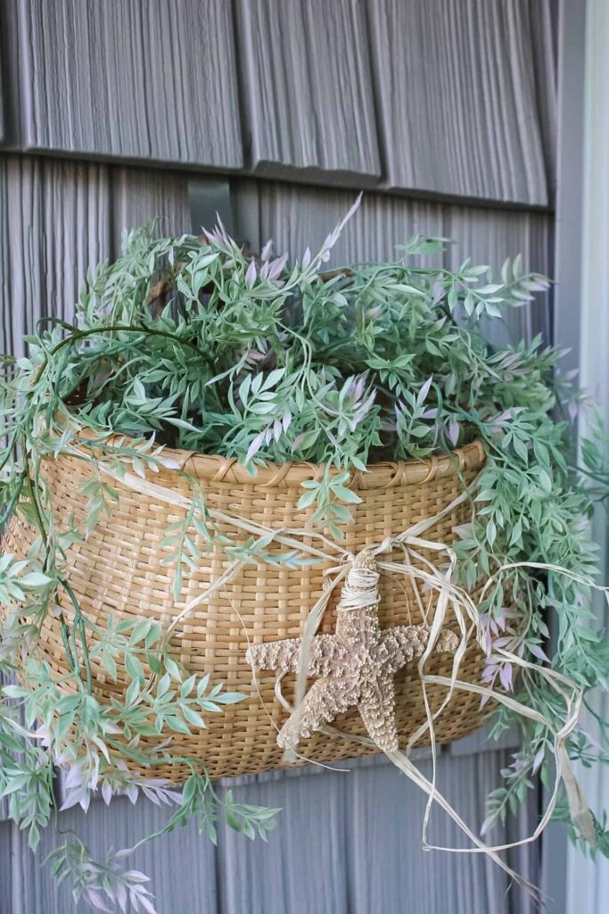 nantucket wall basket with greenery