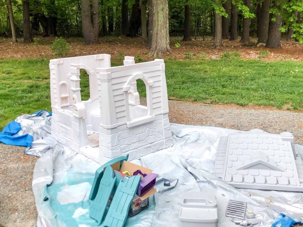 spray painting playhouse