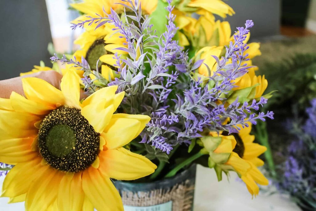 sunflower arangement- adding lavender