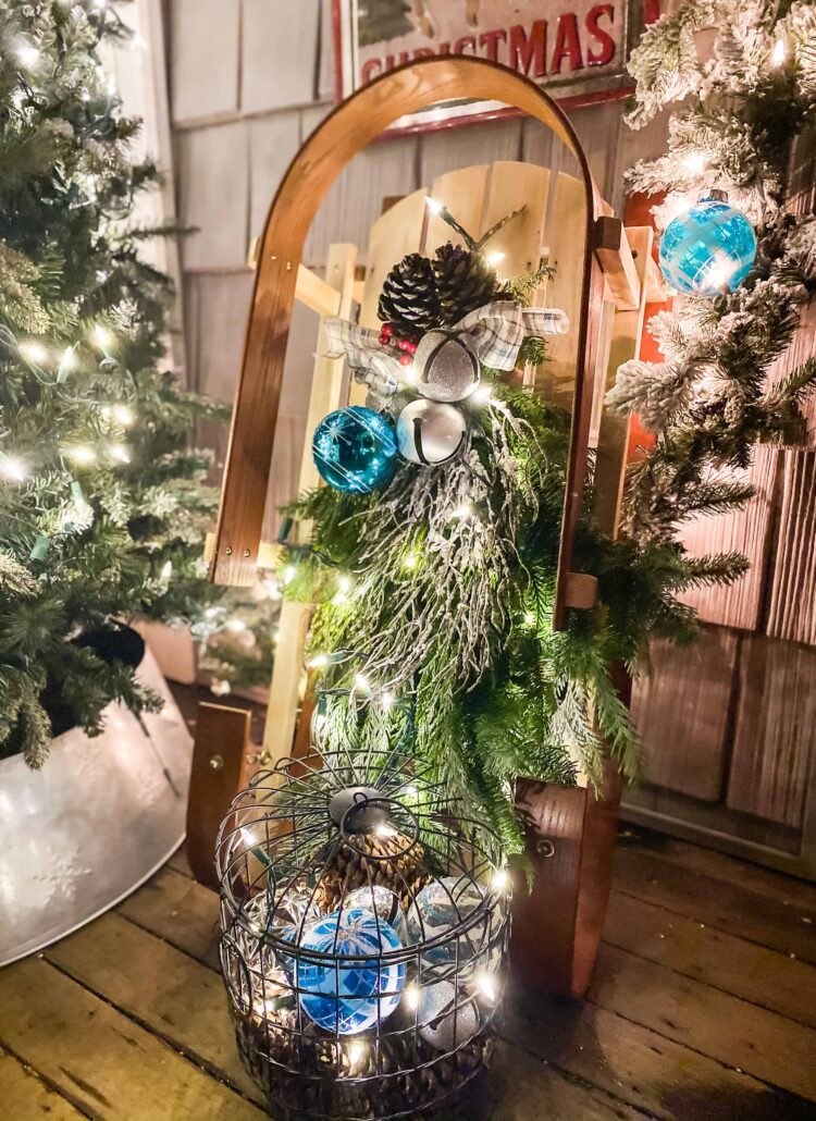 decorated sled on porch