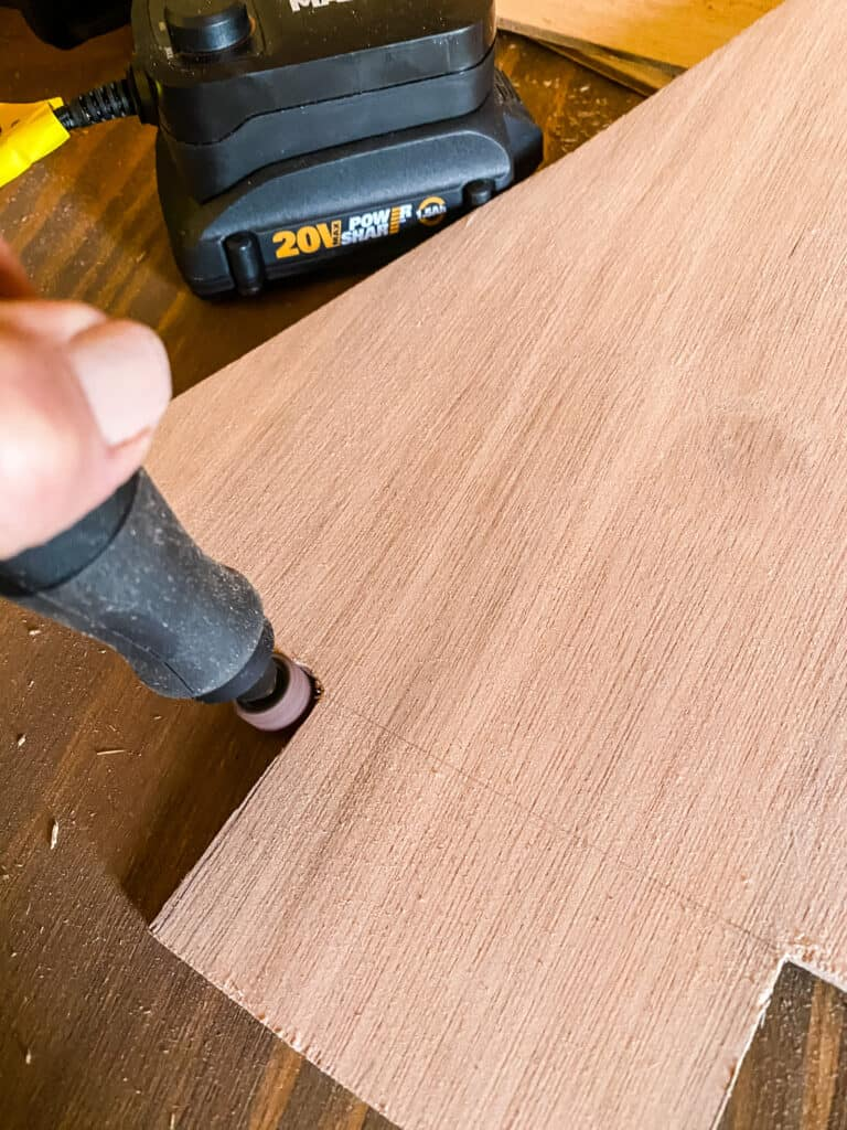 sanding with the MakerX rotary tool