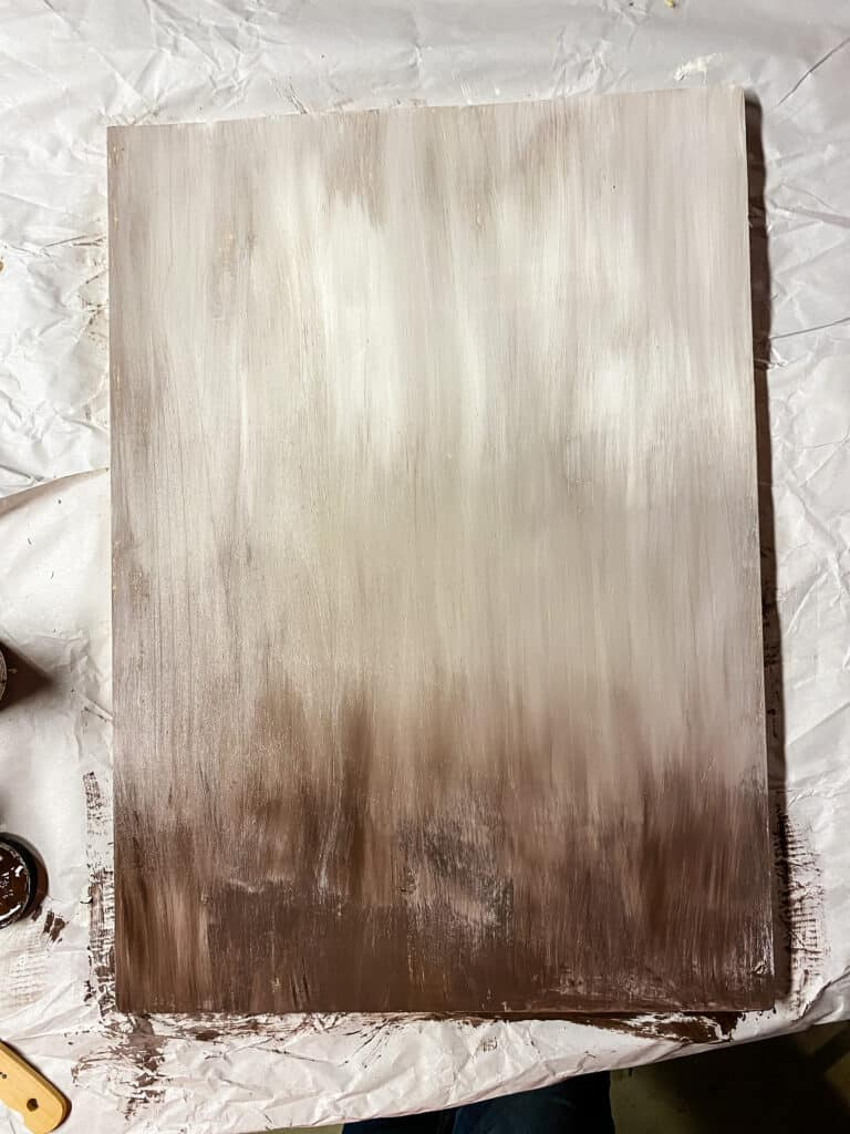 ombre paint effect on wood board