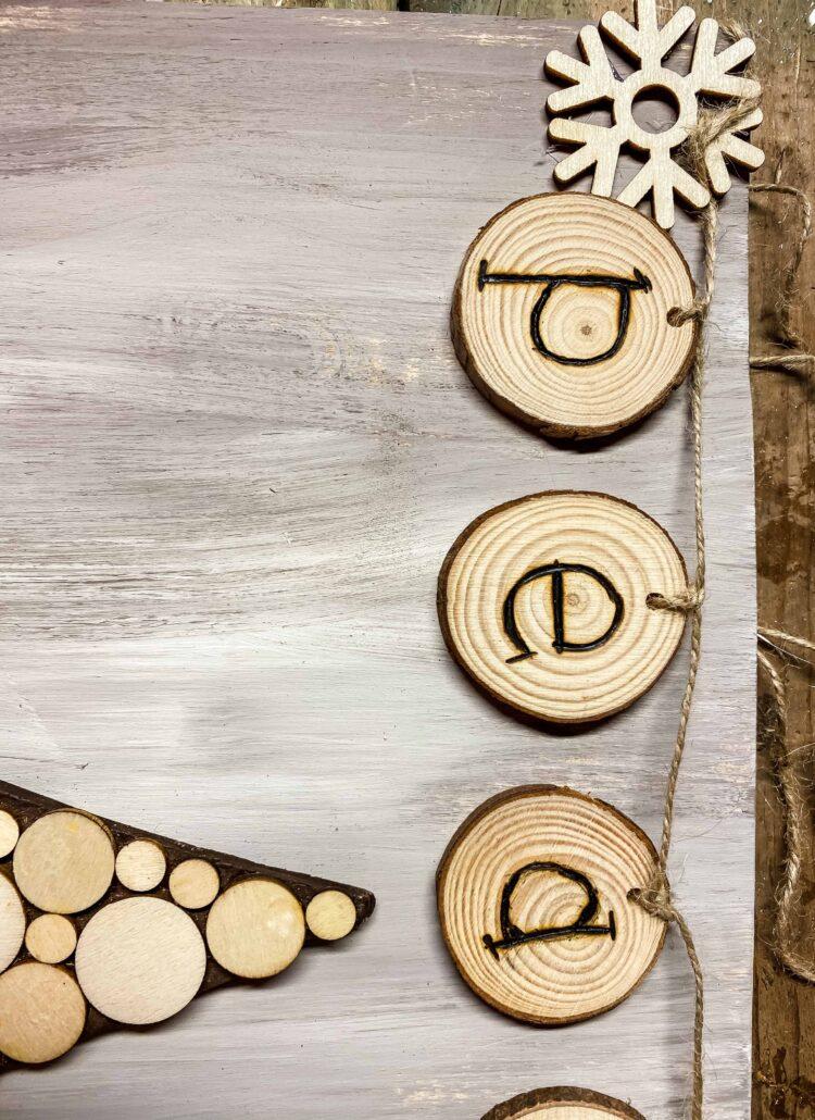 wood peace garland