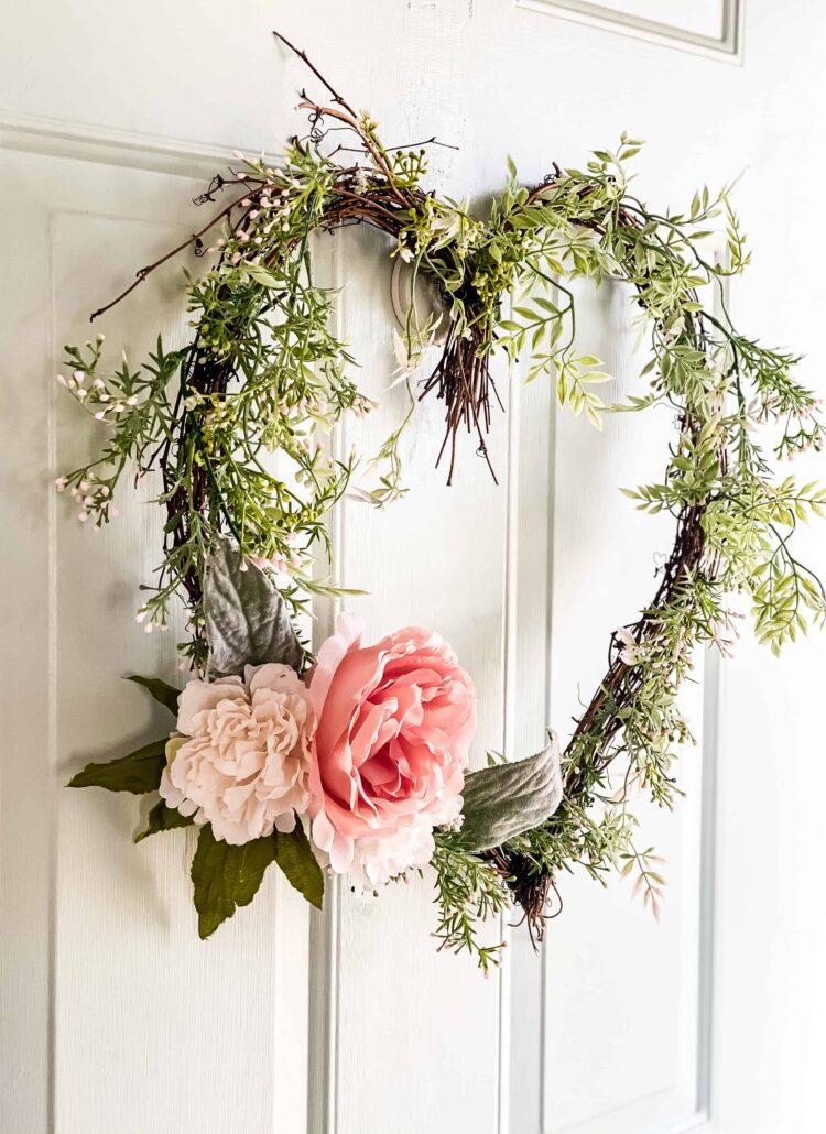 heart wreath on front door