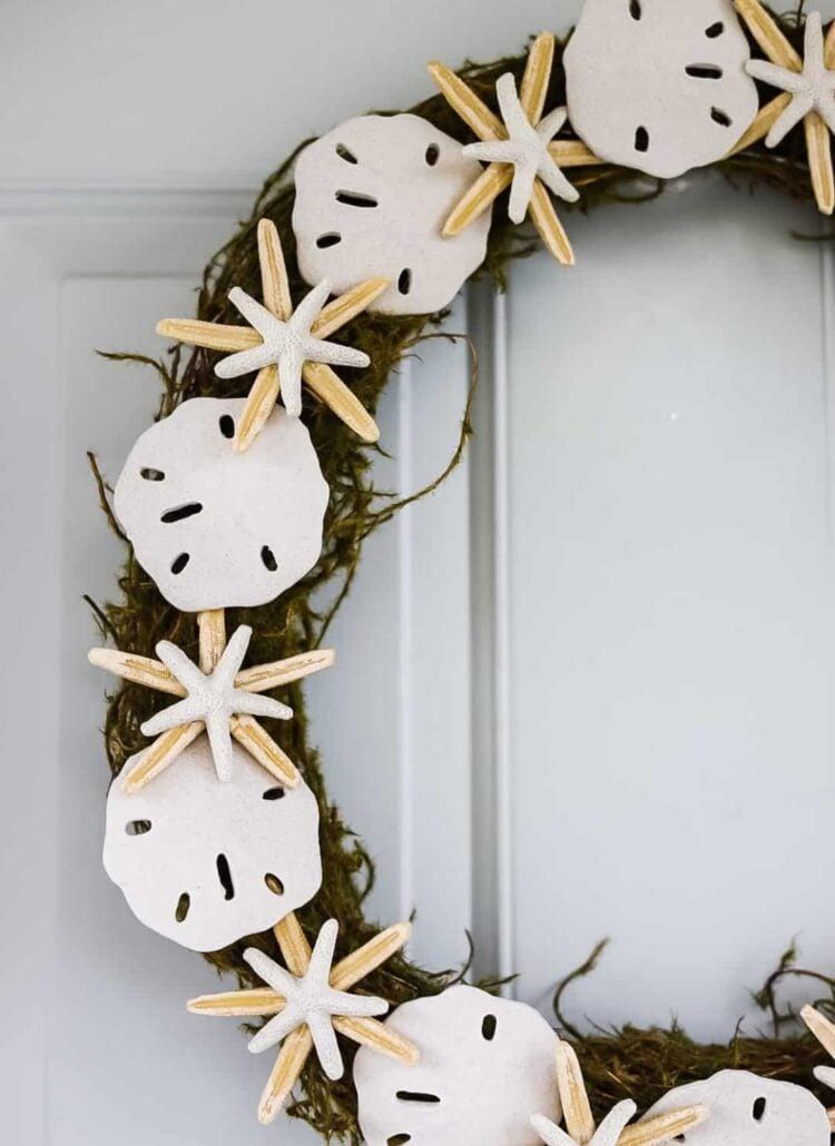 coastal summer wreath with starfish and sandollars