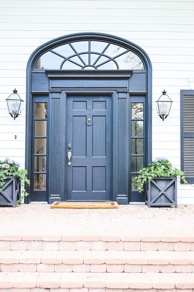 black front door at Hillcrest Estate